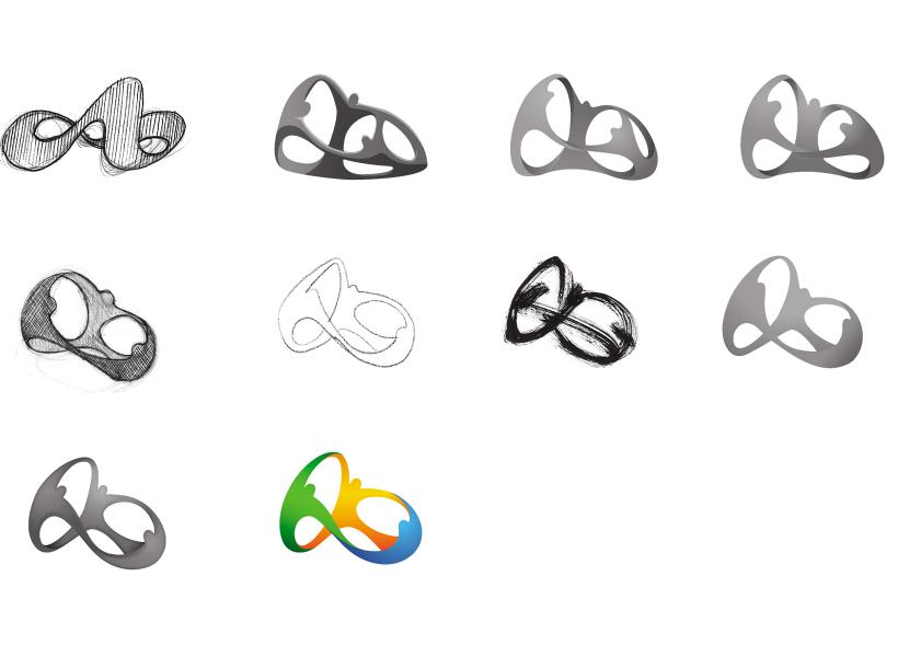 Evolutie van het Rio 2016 beeldmerk, ontwerp Tátil Design